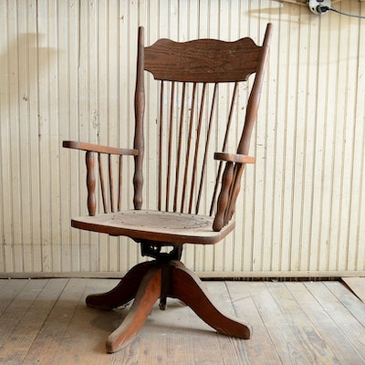 Antique Oak Swivel Chair - Vintage Chairs, Antique Chairs And Retro Chairs Auction In Hyde