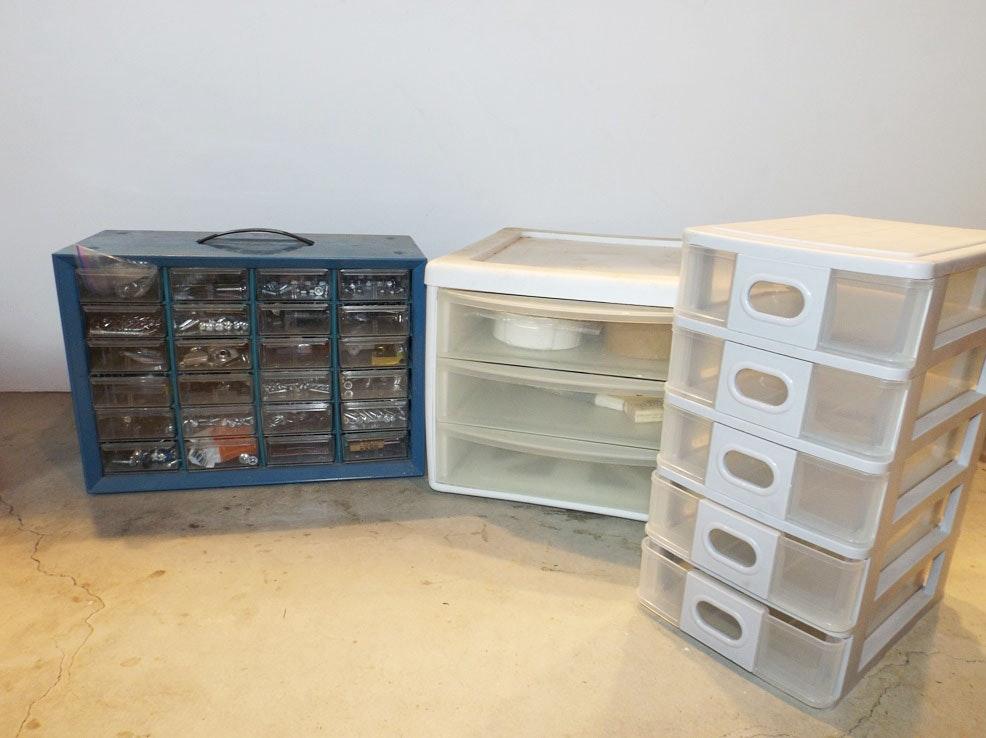 Blue Metal Hardware Storage Bin With Hardware, Plastic Drawers ...