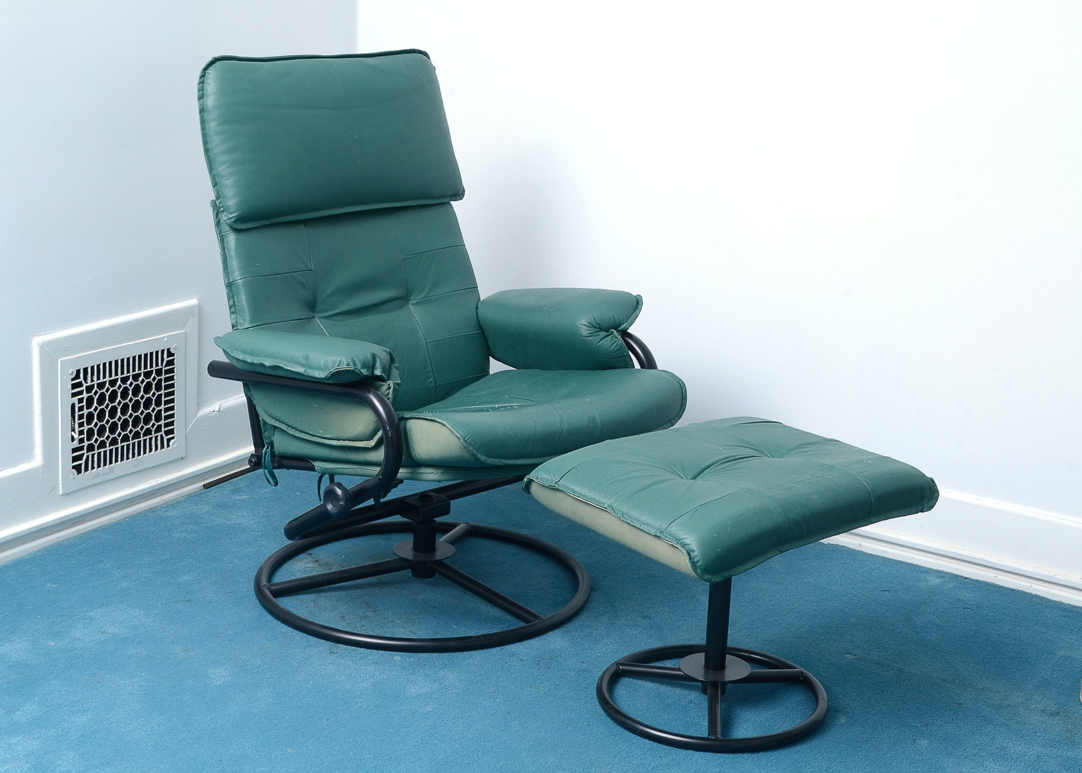 Modern Style Green Vinyl Chair and Ottoman