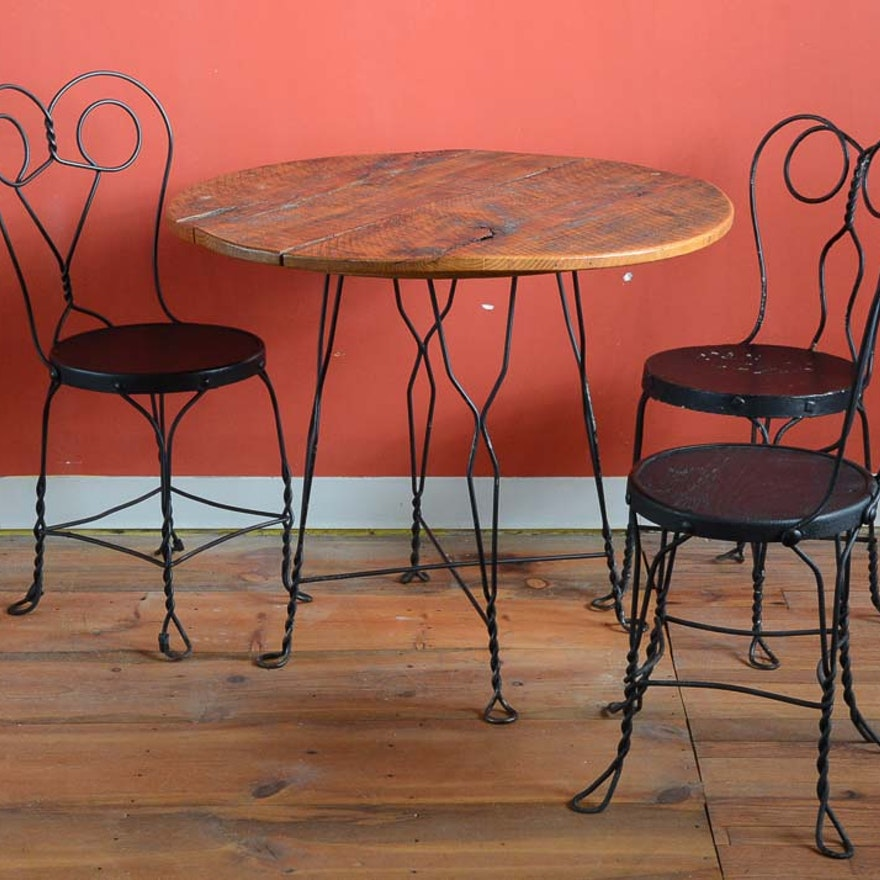 Vintage Ice Cream Parlor Table and Three Chairs ... - Vintage Ice Cream Parlor Table And Three Chairs : EBTH