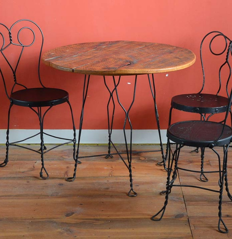 Vintage ice cream parlor table and three chairs ebth