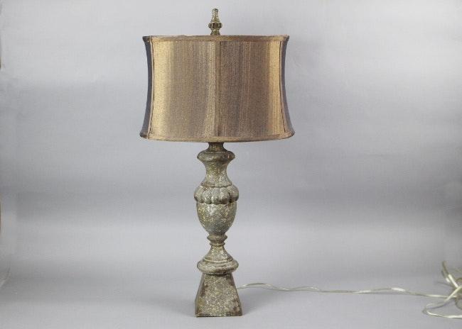 Heavy Cast Urn Table Lamp With Custom Silk Shade