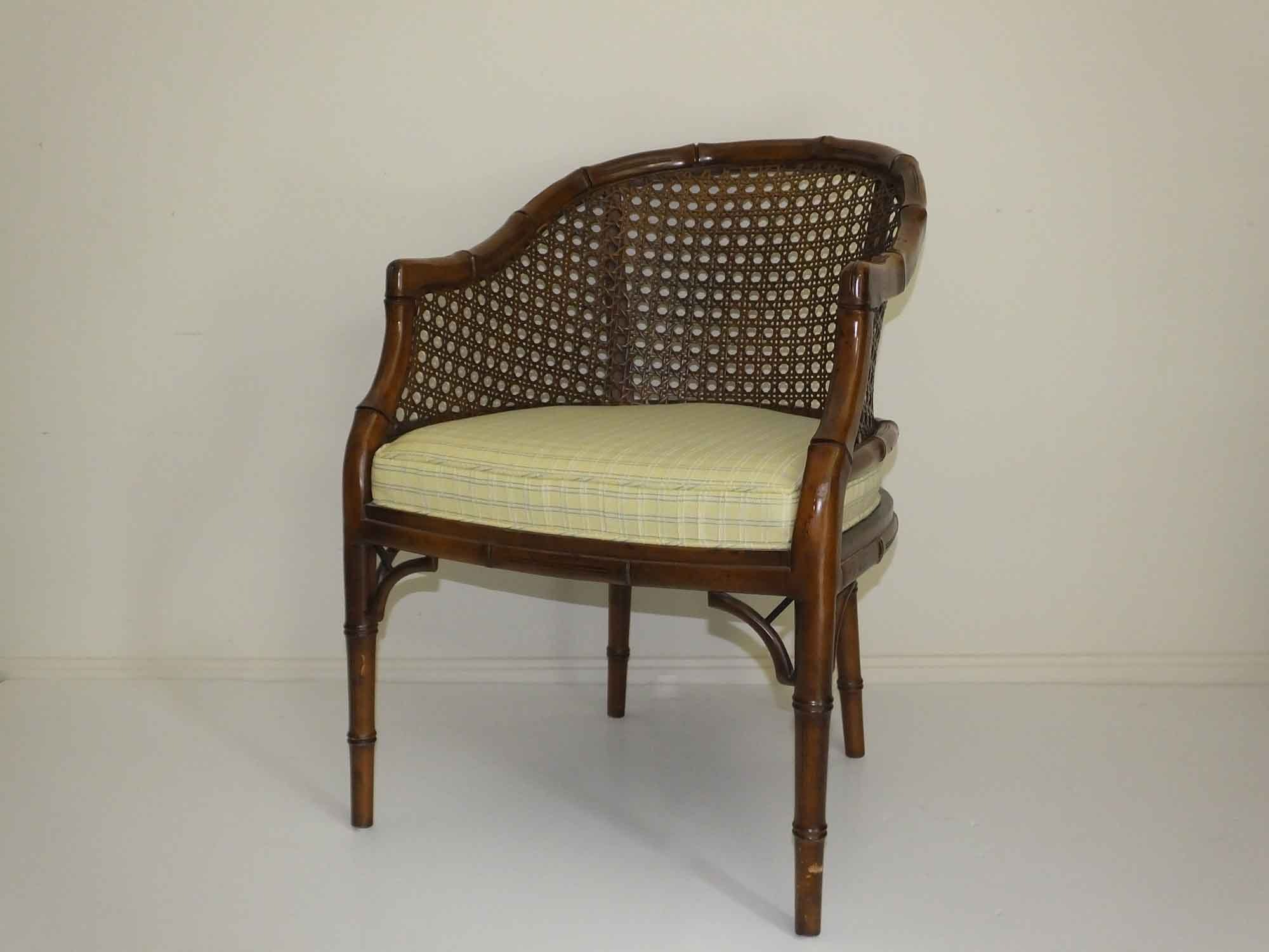 vintage cherry bamboo style cane back chair - Retro Chairs