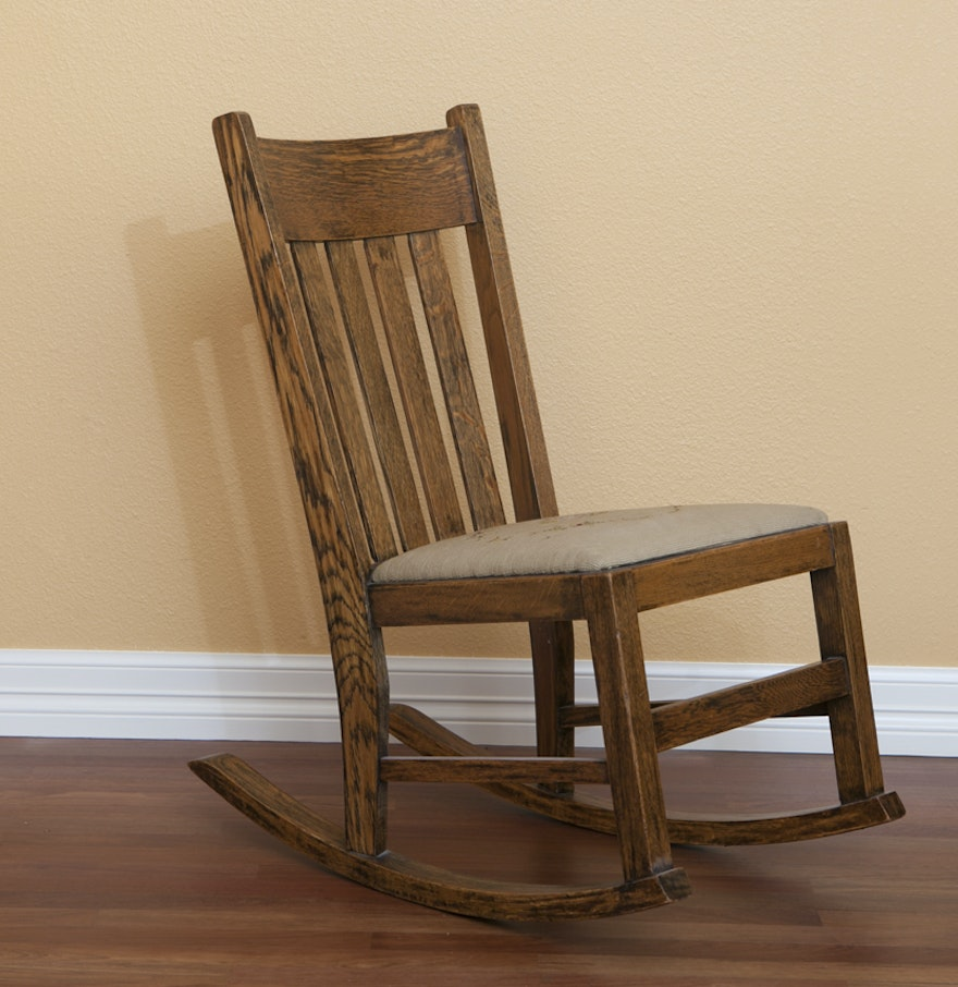 Antique Solid Wood Rocking Chair Ebth