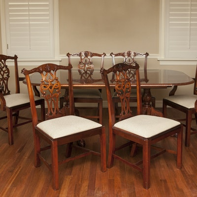 Custom Made Chippendale Style Dining Table And Chairs