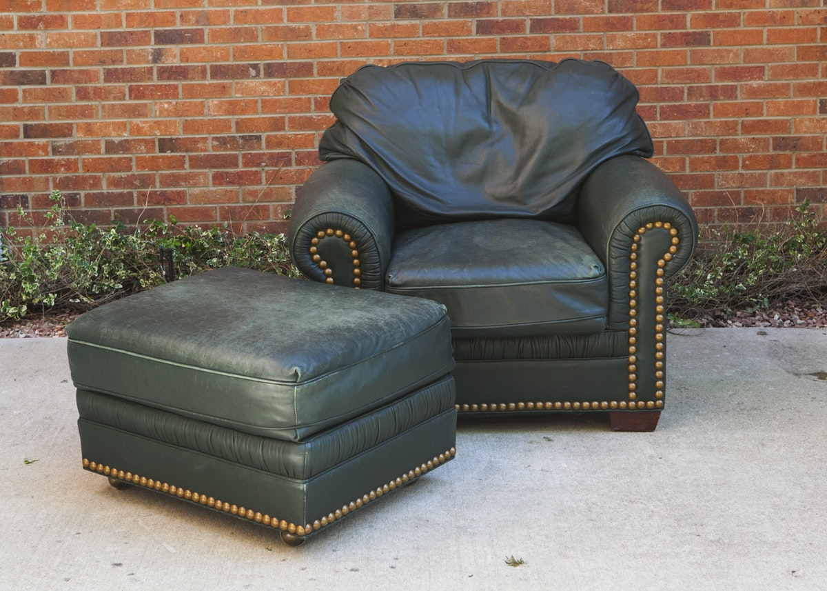 Oversized Leather Chair And Ottoman ...