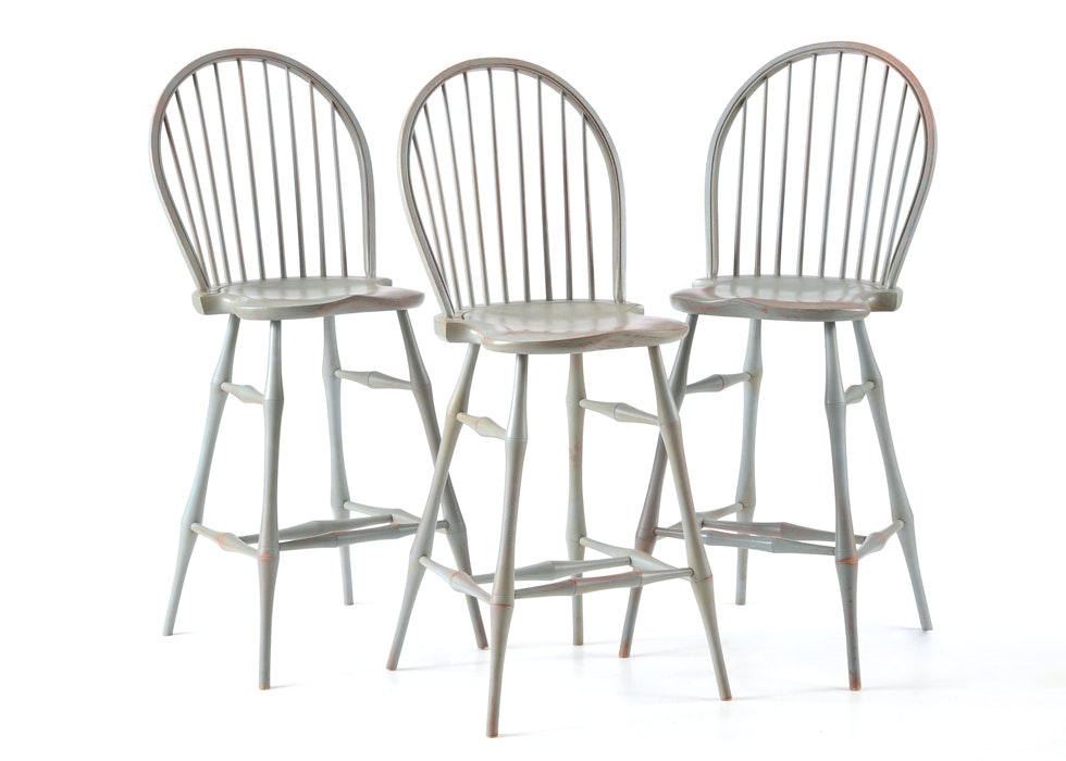 Set Of Three Windsor Style Bar Stools By David T Smith Ebth