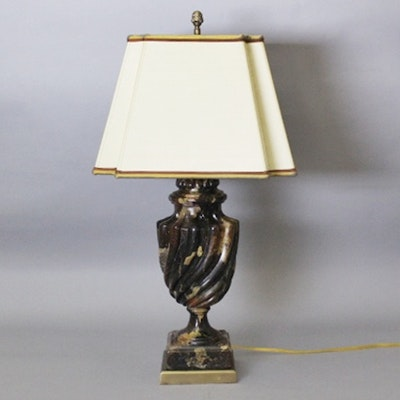 Antique floor lamps table lamps and light fixtures auction in marble like urn table lamp with custom silk shade aloadofball Choice Image