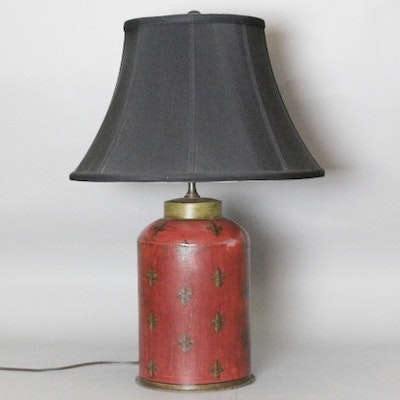 Antique floor lamps table lamps and light fixtures auction in painted red tin table lamp w fleur de lis and black silk shade aloadofball Choice Image