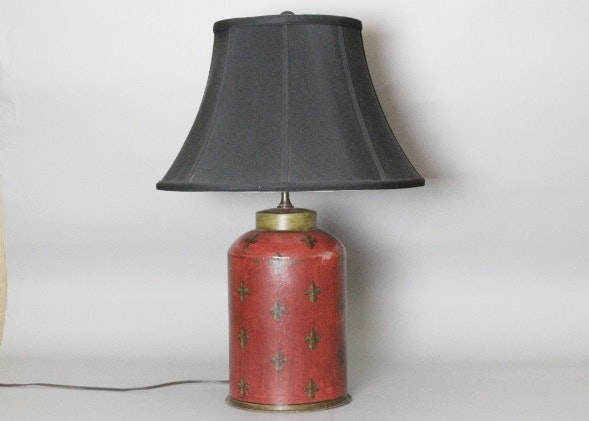 Painted Red Tin Table Lamp W/ Fleur De Lis And Black Silk Shade