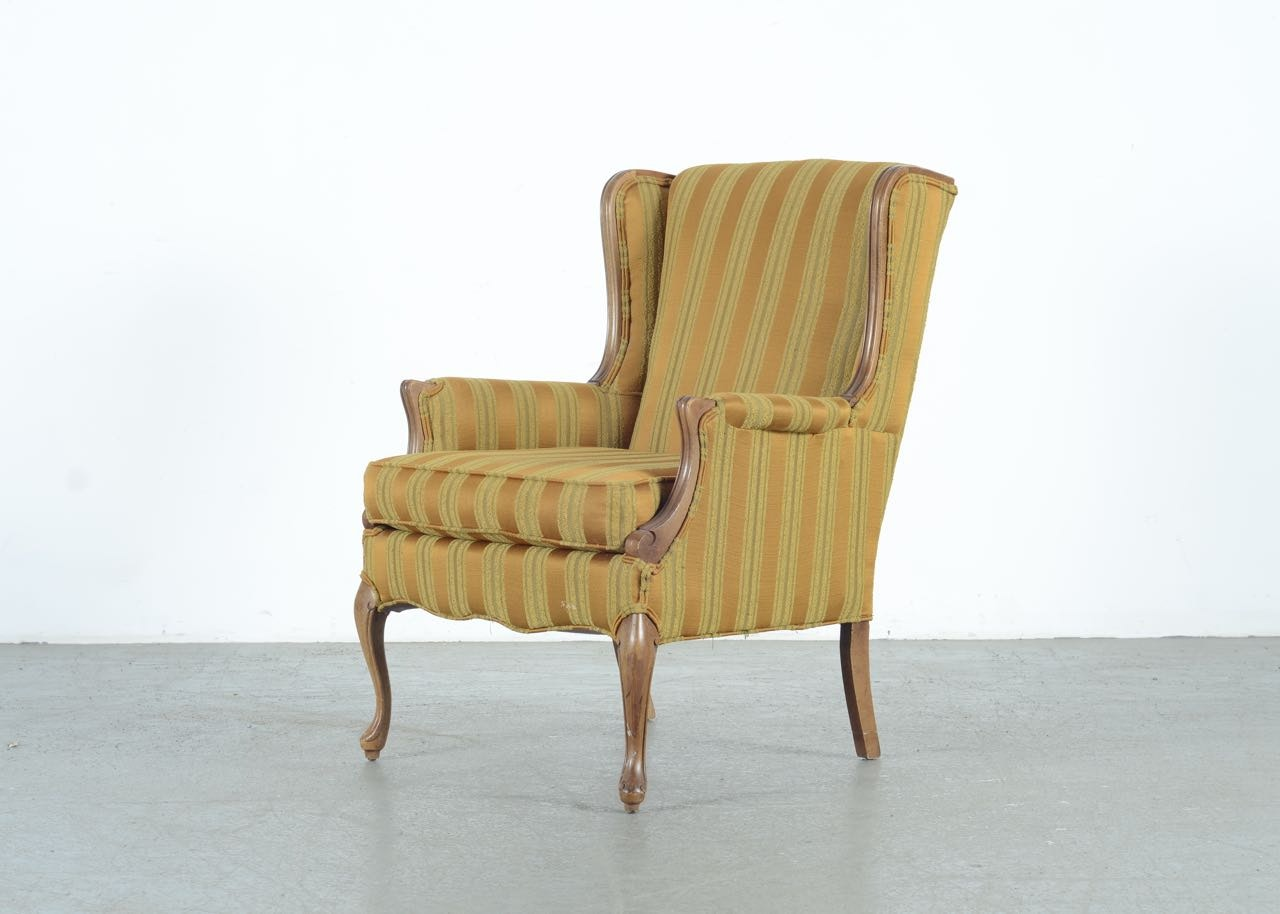 Queen Anne Style Upholstered Wingback Chair EBTH