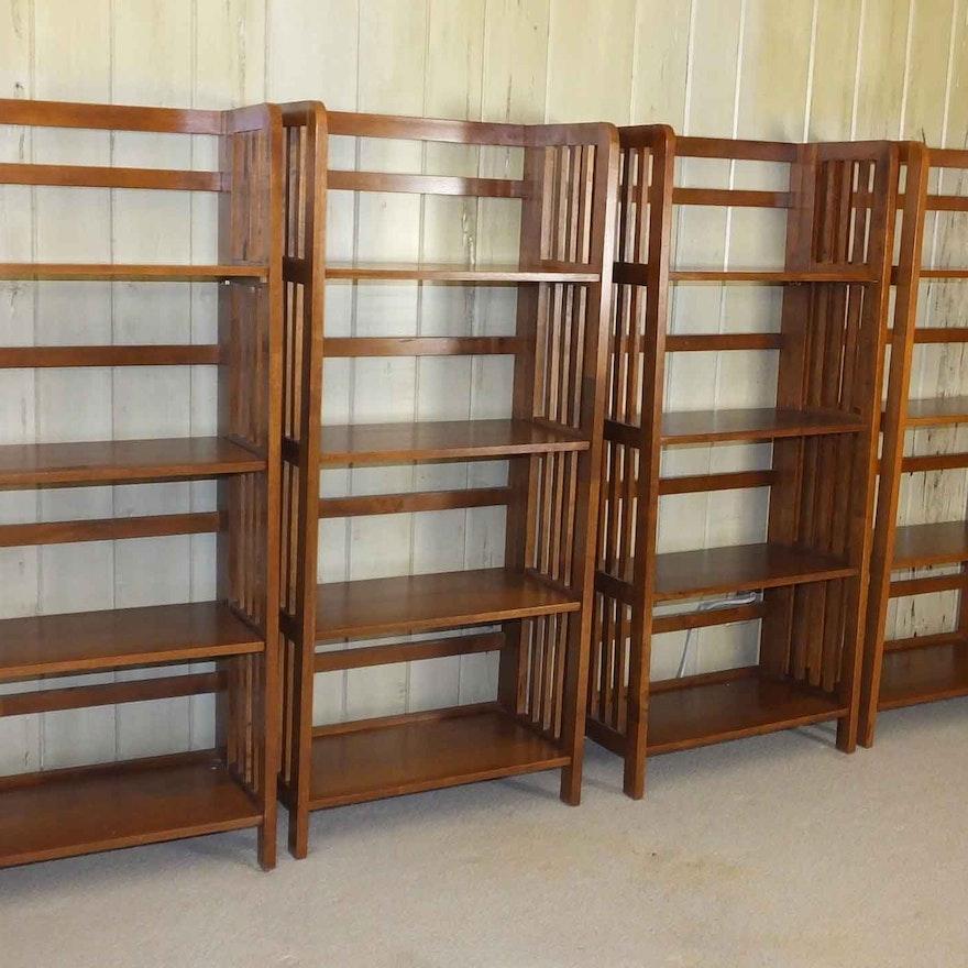 four folding teak bookshelves - Teak Bookshelves