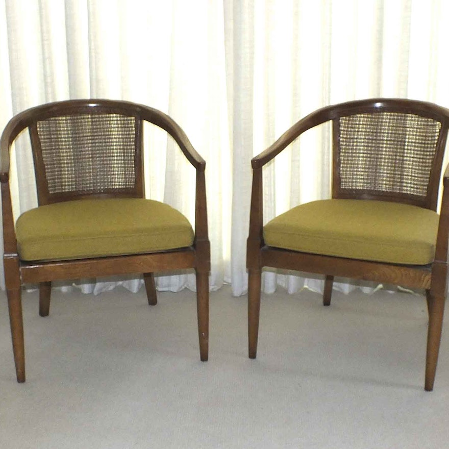 Pair of Vintage Cane Back Barrel Chairs ... - Pair Of Vintage Cane Back Barrel Chairs : EBTH