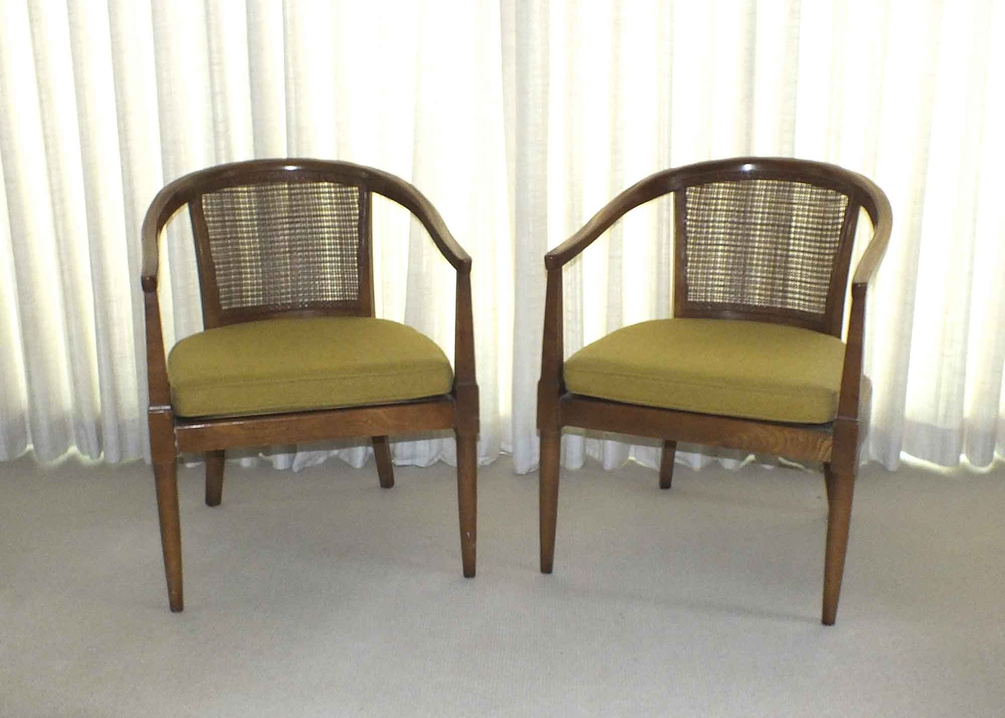 pair of vintage cane back barrel chairs