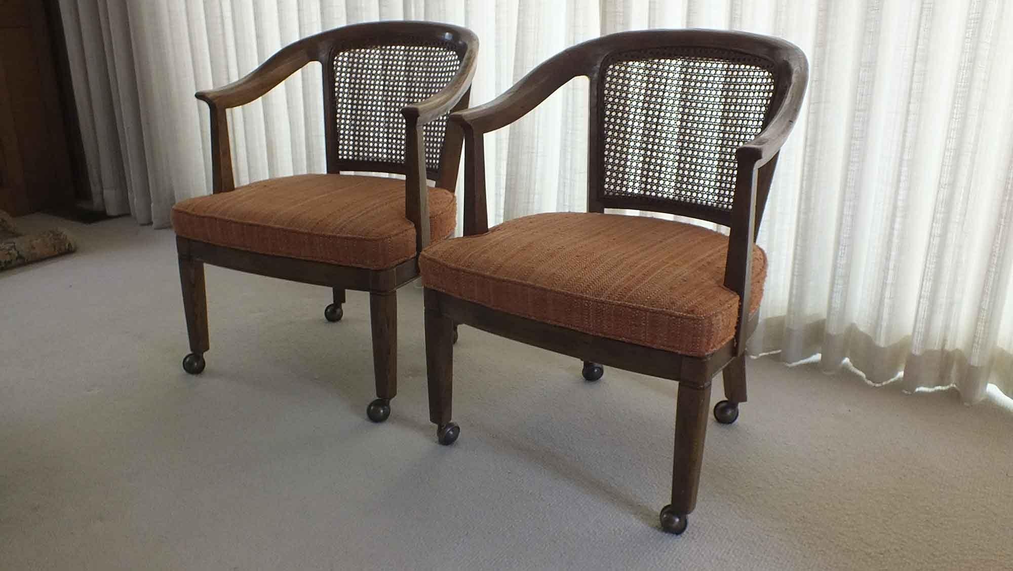 Merveilleux Pair Of Henredon Cane Barrel Chairs ...