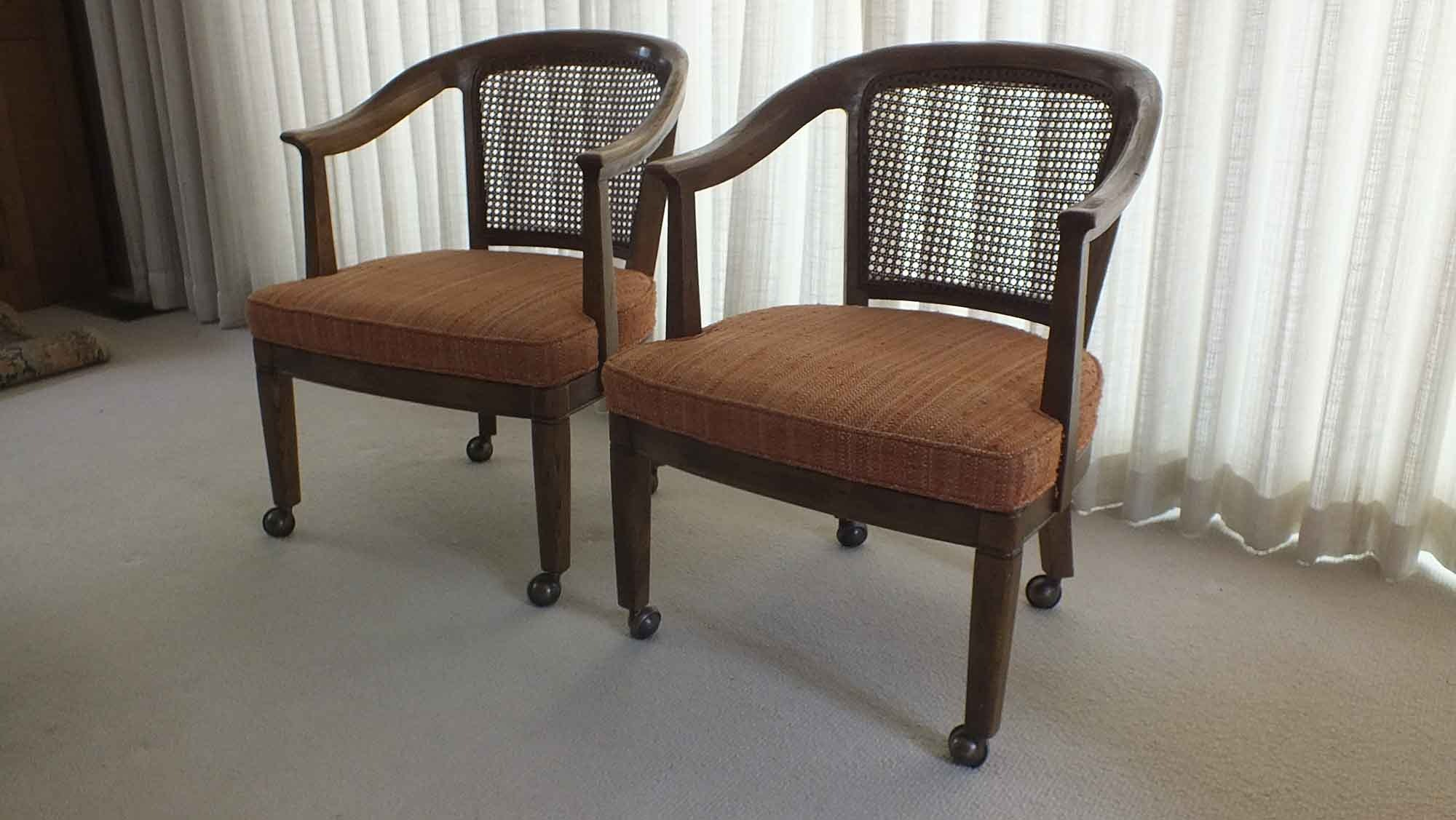 pair of henredon cane barrel chairs - Barrel Chairs