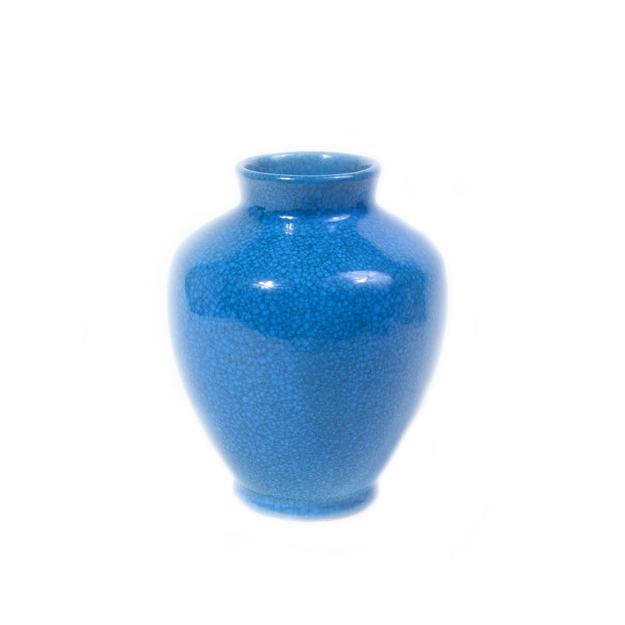 Belgium Blue Ceramic Vase Ebth