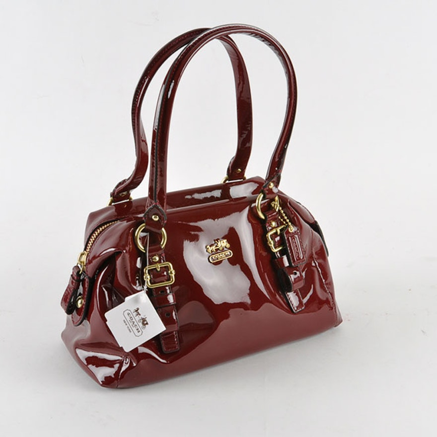 Coach Madison Patent Leather Small Purse In Crimson