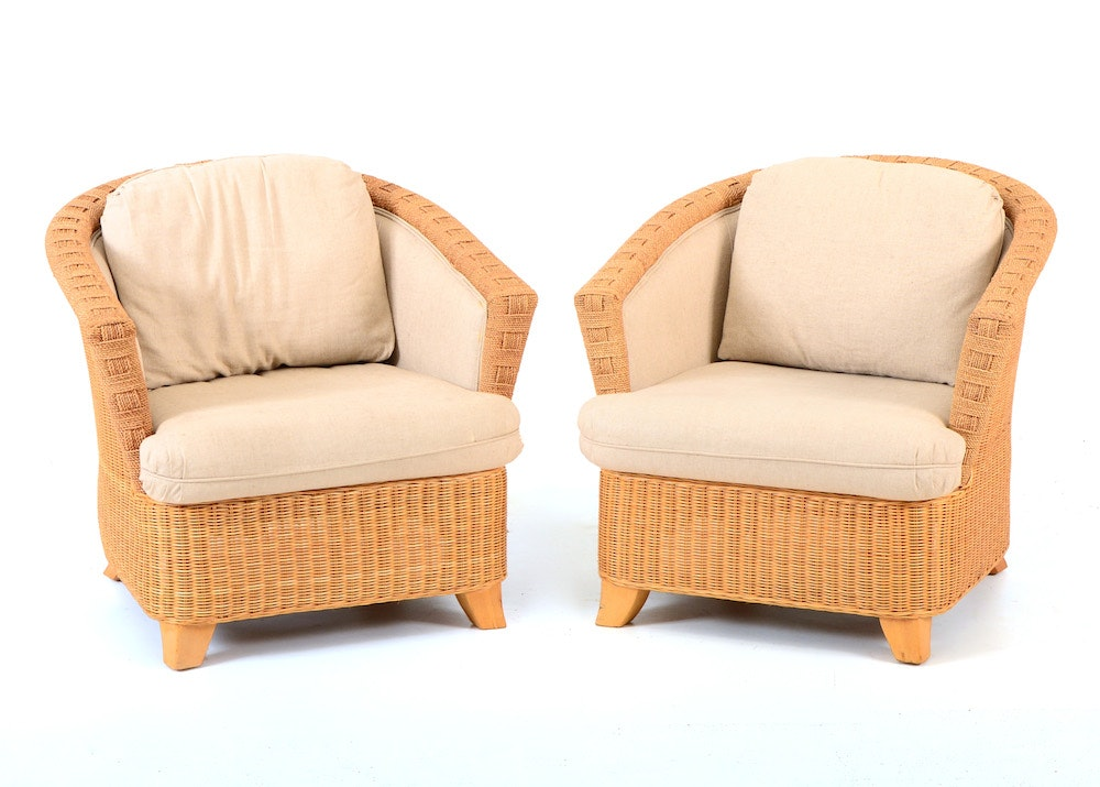 Superior Pair Of Henry Link Barrel Back Wicker Chairs ...