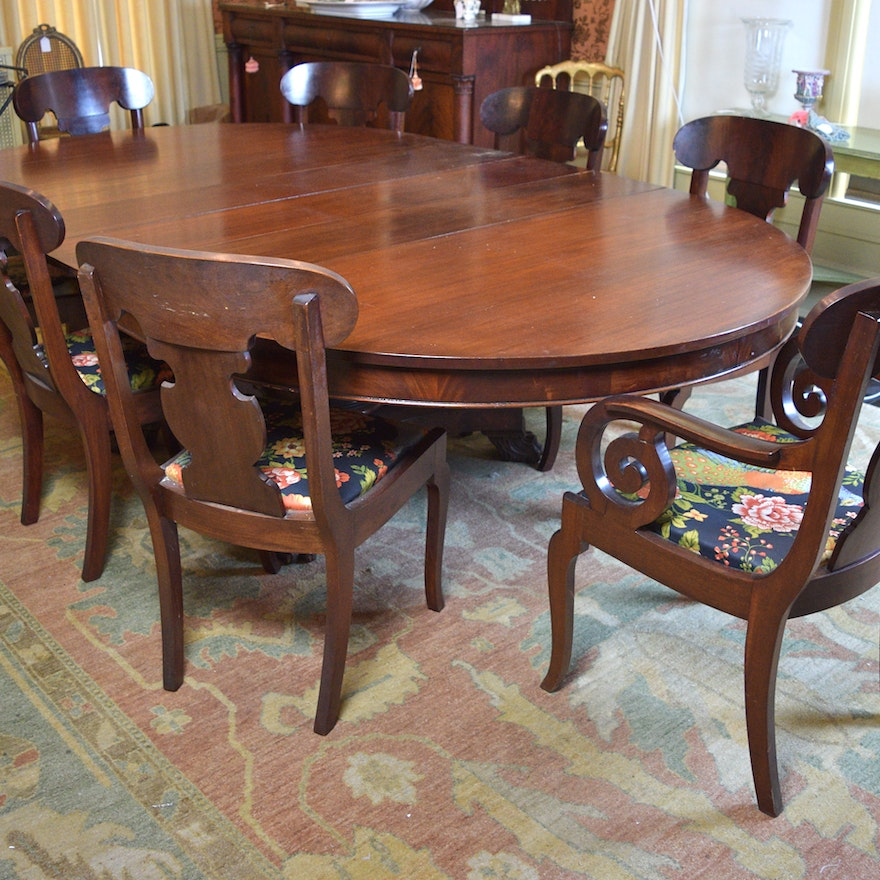 American Empire Oval Dining Table And Chairs Ebth