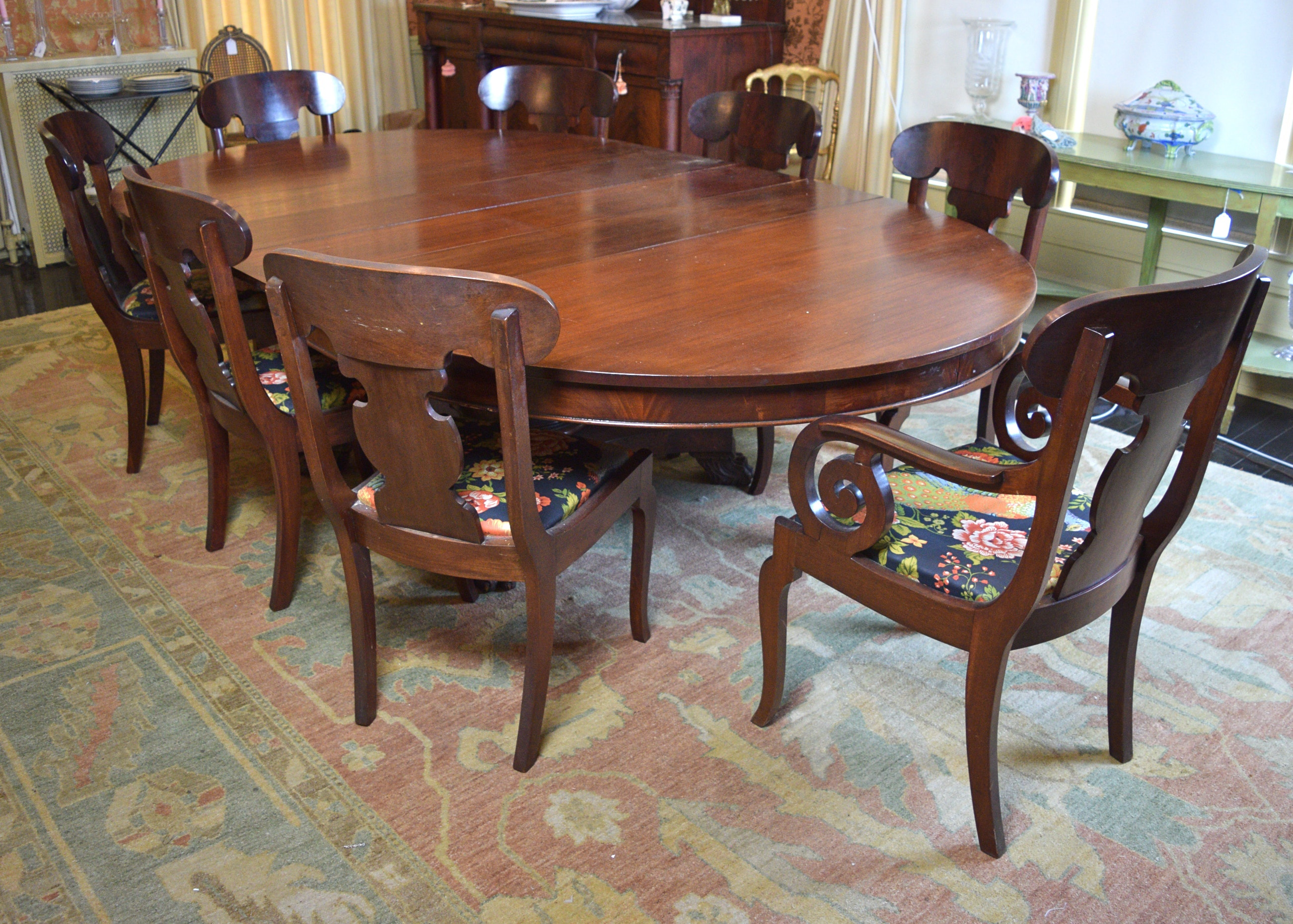 Online Furniture Auctions Vintage Furniture Auction Antique American Empire  Furniture American Empire Oval Dining Table And Chairs