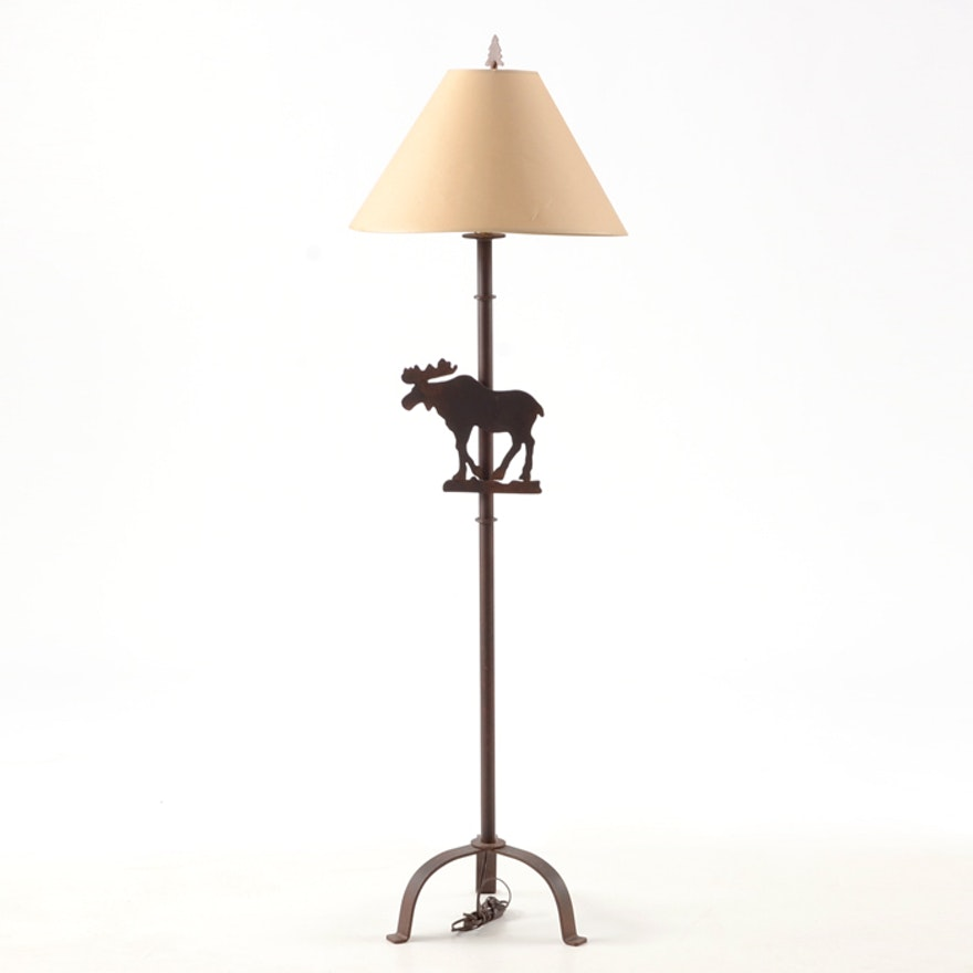 Metal floor lamp with moose motif ebth metal floor lamp with moose motif aloadofball Image collections