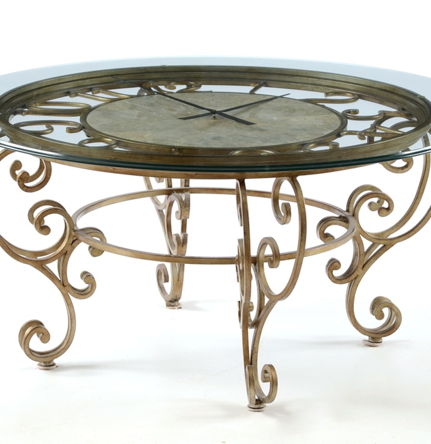 Glass top round clock coffee table ebth glass top round clock coffee table geotapseo Image collections