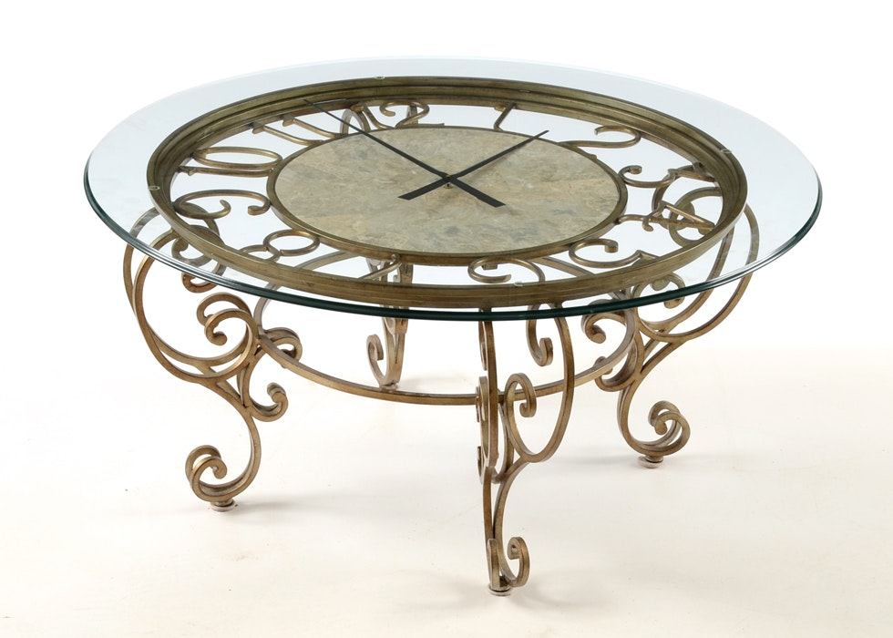 Glass top round clock coffee table ebth for Clock coffee table round