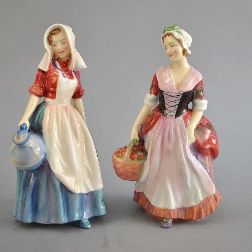 Pair of Royal Doulton Figurines 'Jersey Milkmaid' & 'Prue'