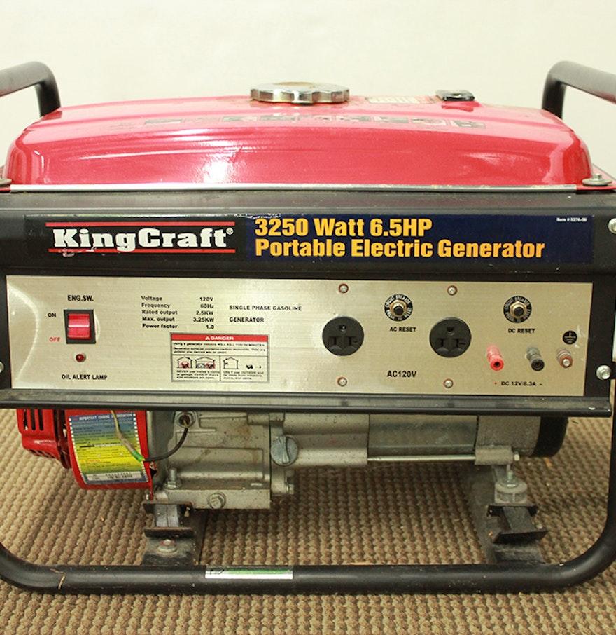 KingCraft 6.5 HP 3250 Watt Portable Electric Generator : EBTH