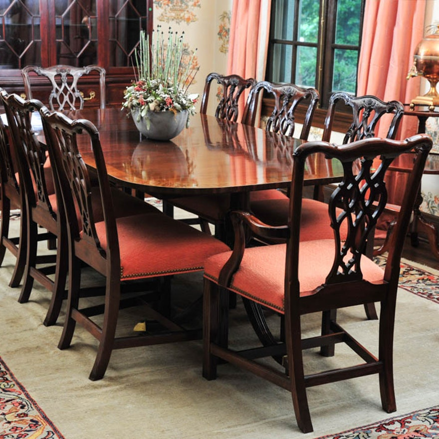 Mahogany Dining Table By Councill Craftsmen And Eight Chairs