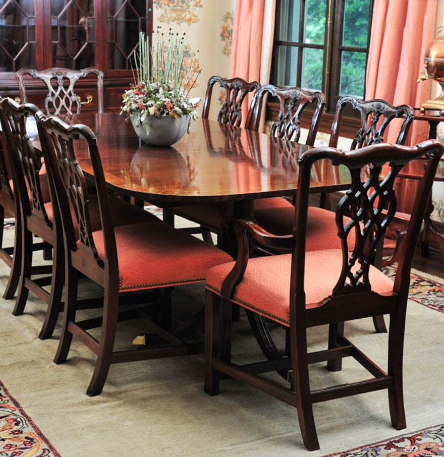 Mahogany Dining Table by Councill Craftsmen and Eight Chairs : EBTH