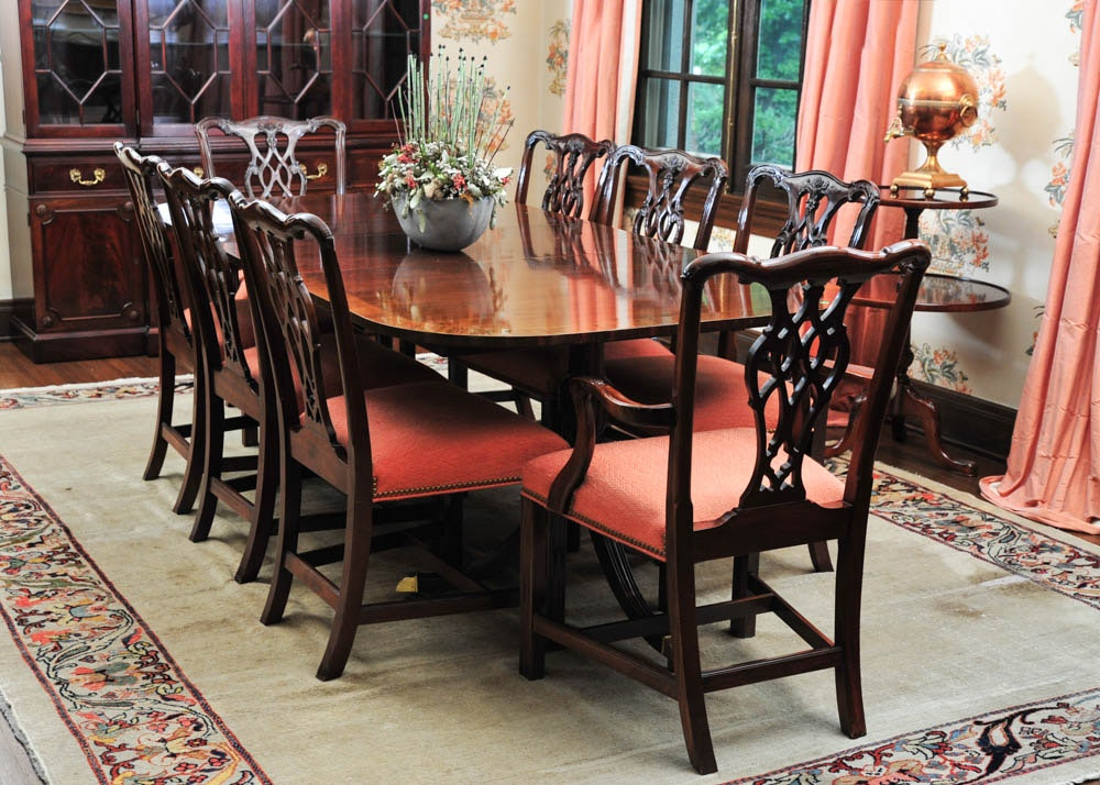Mahogany Dining Table By Councill Craftsmen And Eight Chairs ...