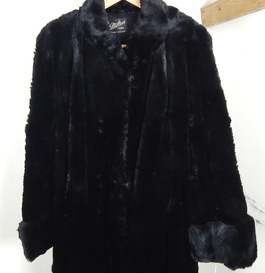 Lady's 1940's Vintage Black Seal Fur Coat : EBTH