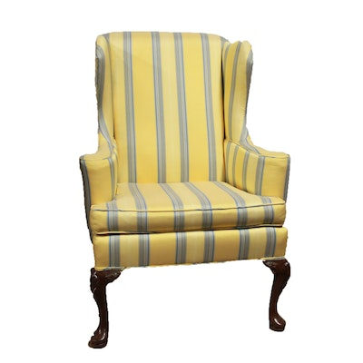 Blue and Yellow Wingback Chair. Vintage Chairs  Antique Chairs and Retro Chairs Auction in