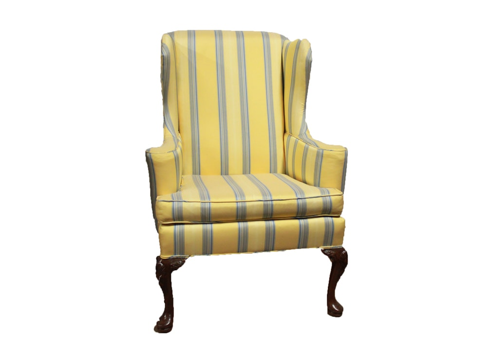 blue and yellow wingback chair