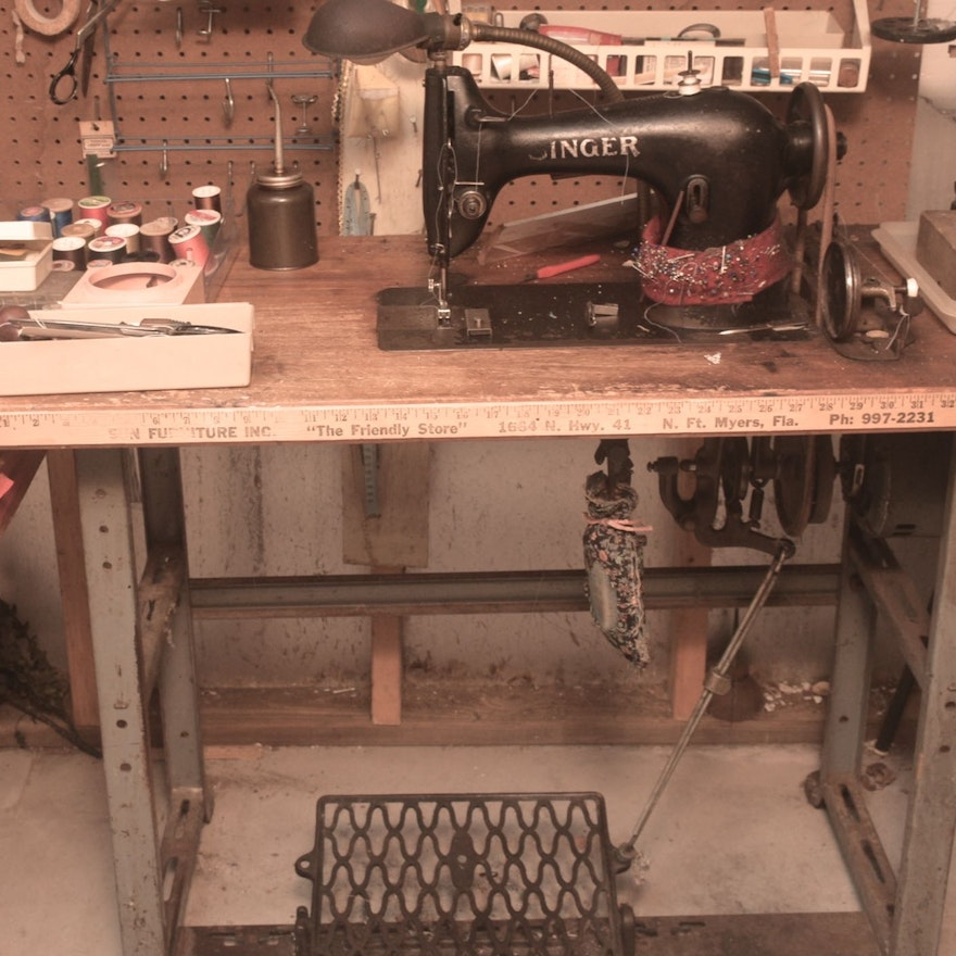 Singer Treadle Sewing Machine EBTH Adorable Myers Sewing Machine