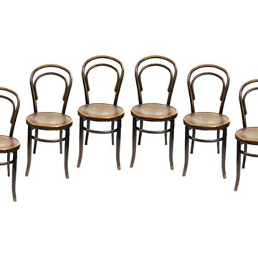 Six Antique Thonet Style Bentwood Chairs by Fischel - Vintage Chairs, Antique Chairs And Retro Chairs Auction In