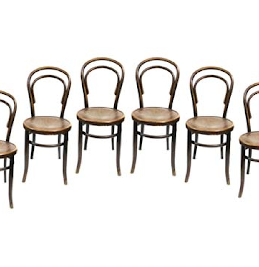 Antique thonet bentwood chair - Six Antique Thonet Style Bentwood Chairs By Fischel