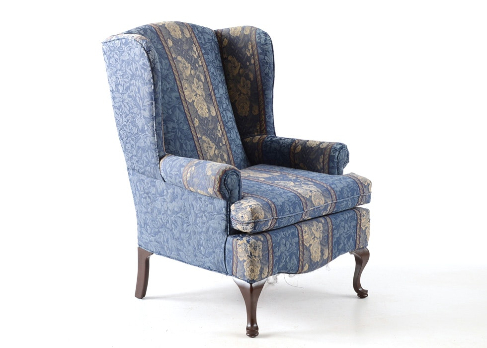 Queen Anne Style Blue Striped Wingback Chair EBTH