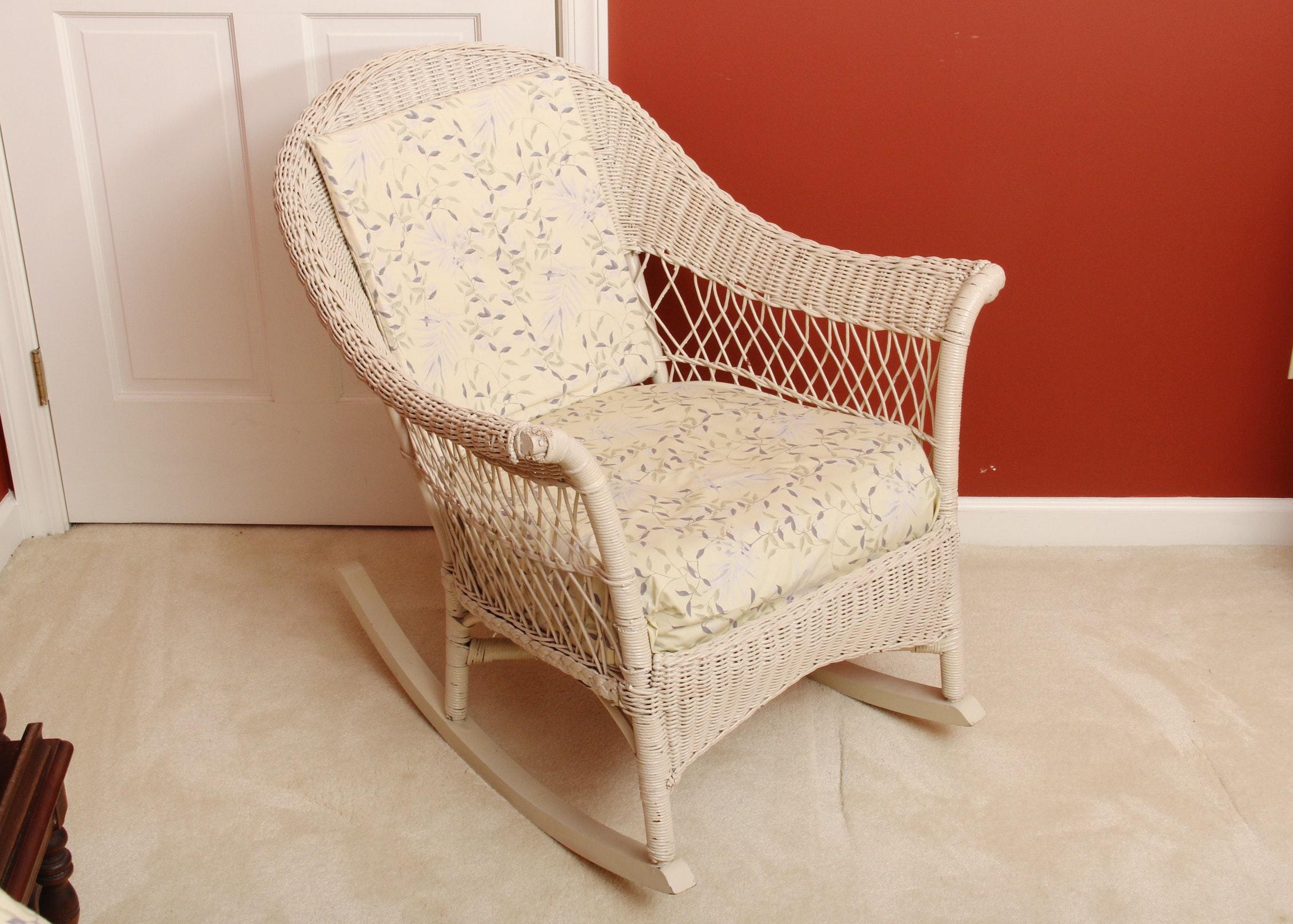 cream wicker rocking chair