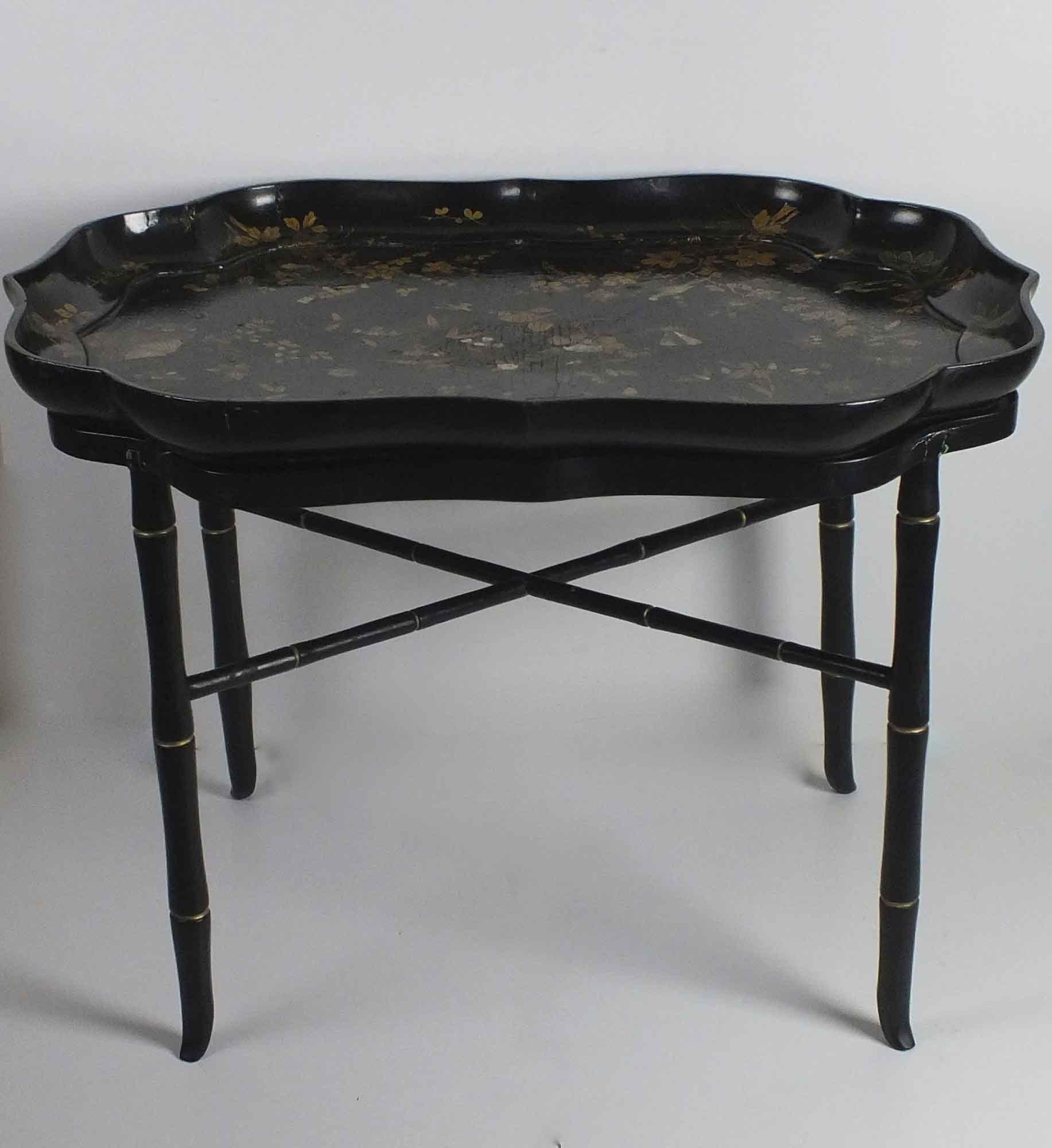 Papier Mache Black Lacquer Tray Table ...