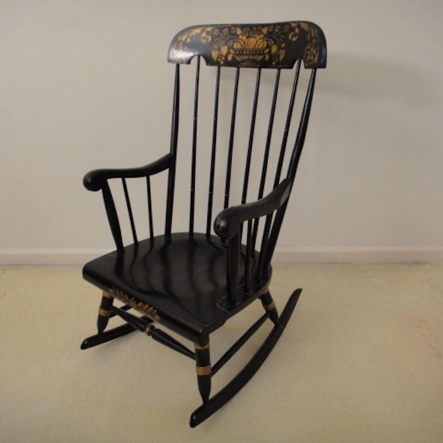vintage black rocking chair with gold stenciling ebth. Black Bedroom Furniture Sets. Home Design Ideas