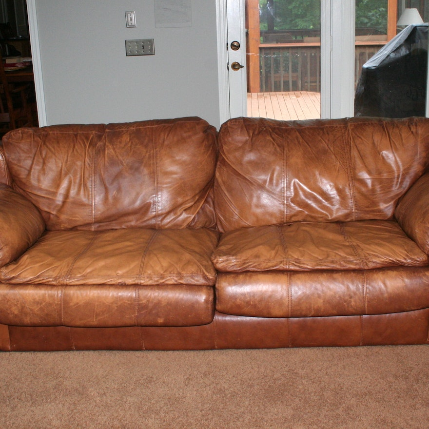 Distressed Leather Sealy Sofa