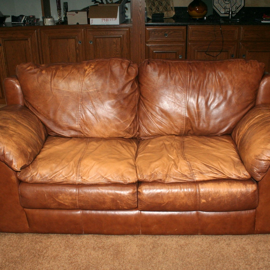 Distressed Leather Sealy Love Seat