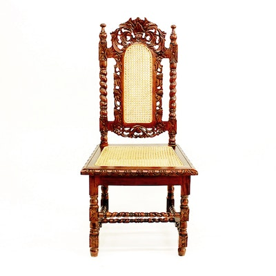 Ornate French Hunting Style Chair - Online Furniture Auctions Vintage Furniture Auction Antique