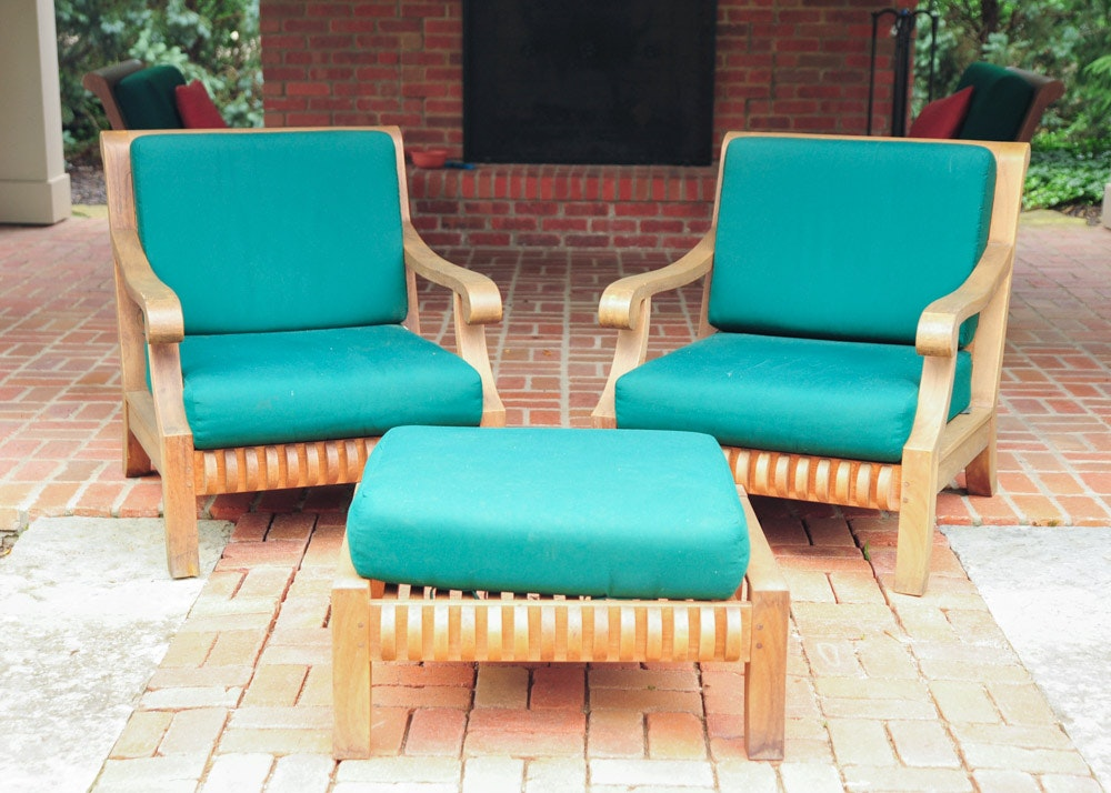 Smith And Hawken Avignon Teak Club Chairs And Ottoman ... Part 63