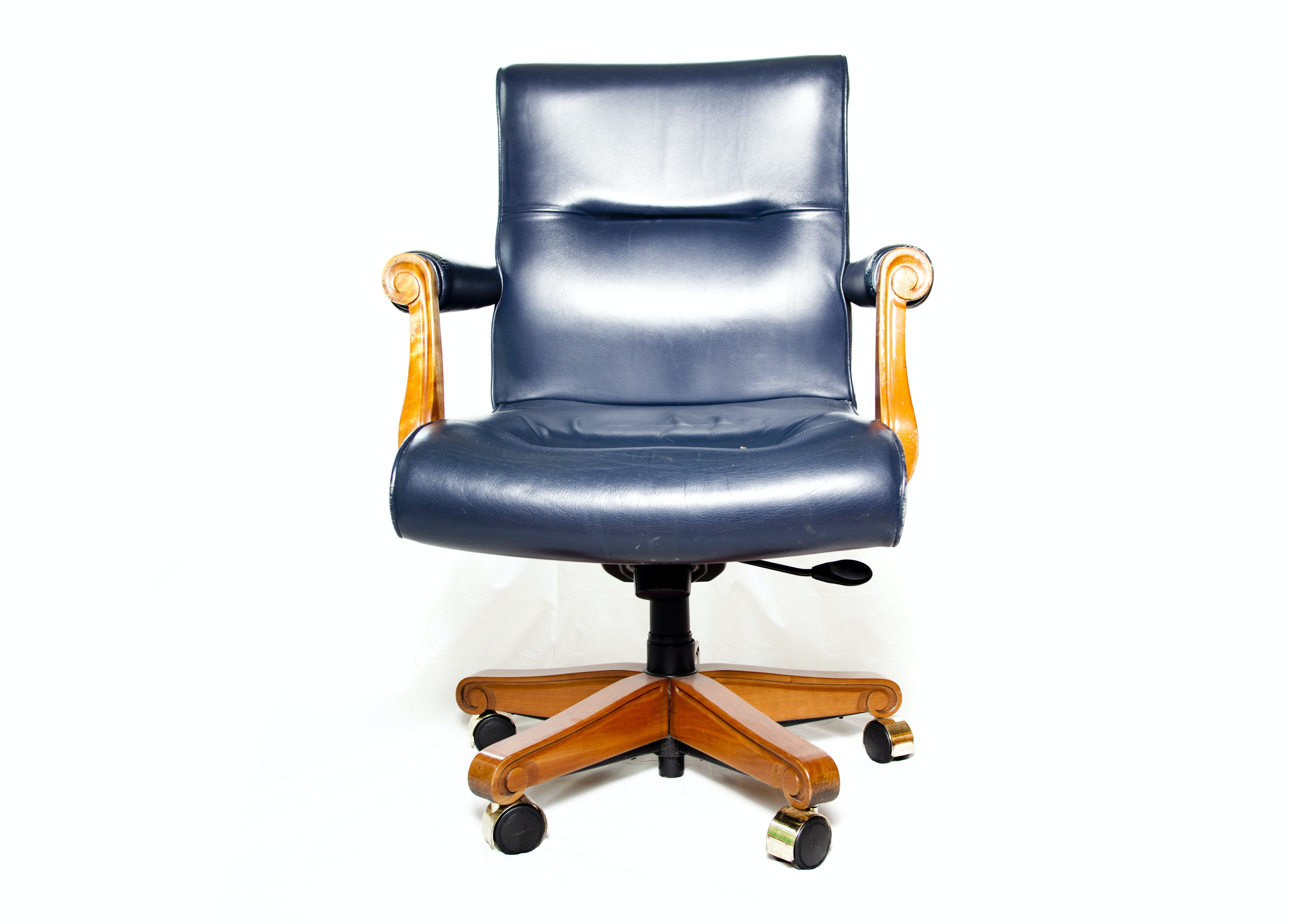 Blue Leather Desk Chair ...
