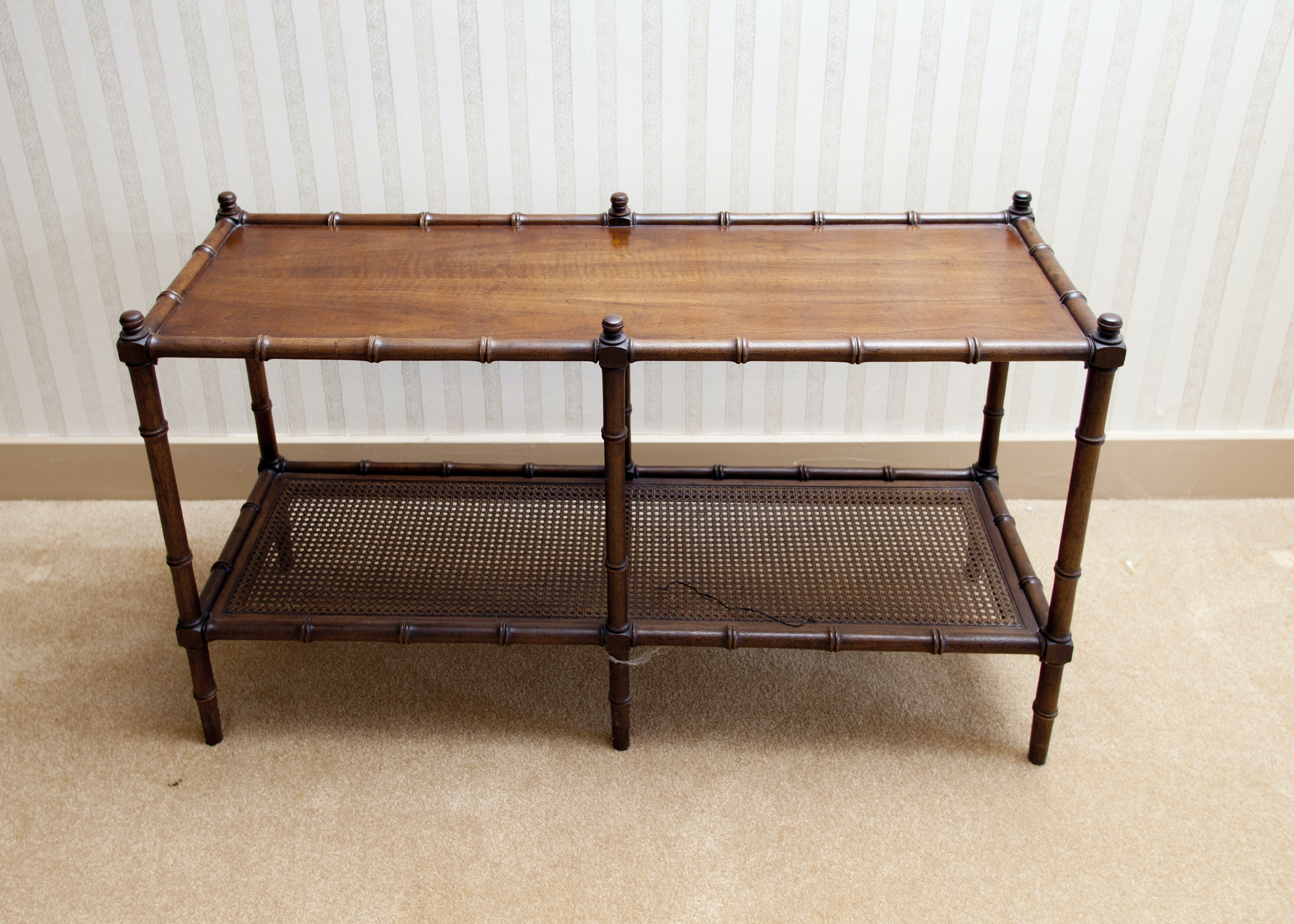 Vintage Faux Bamboo Console Table With Cane Shelf ...