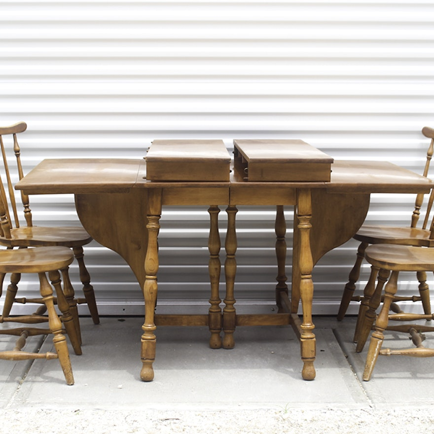 Vintage Ethan Allen Drop Leaf Table And Chairs